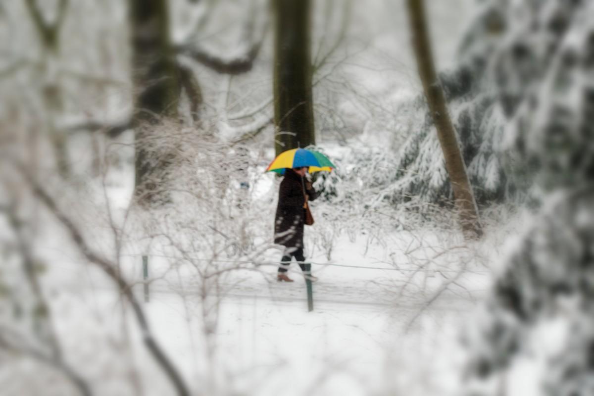 Straatfotografie in de sneeuw